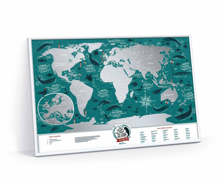 Карта Мира Travel Map Marine в раме