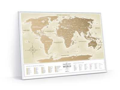 Карта мира в раме Travel Map Gold World