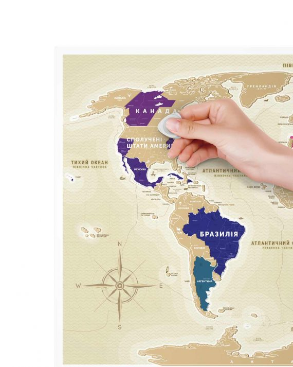 Карта мира в раме Travel Map Gold World