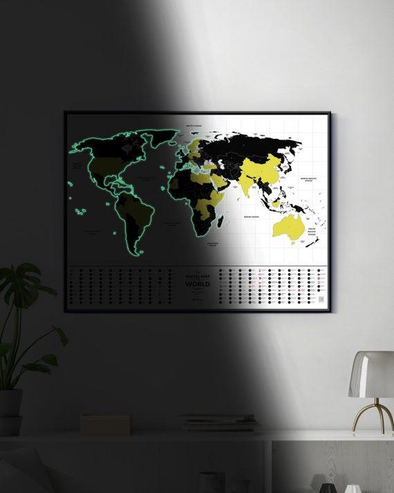 светящаяся карта мира Travel Map Glow