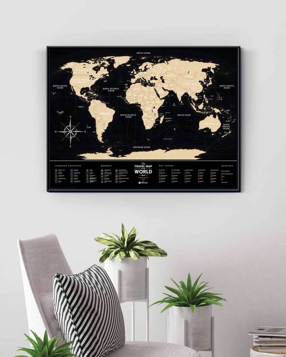 Карта мира Travel Map Black World