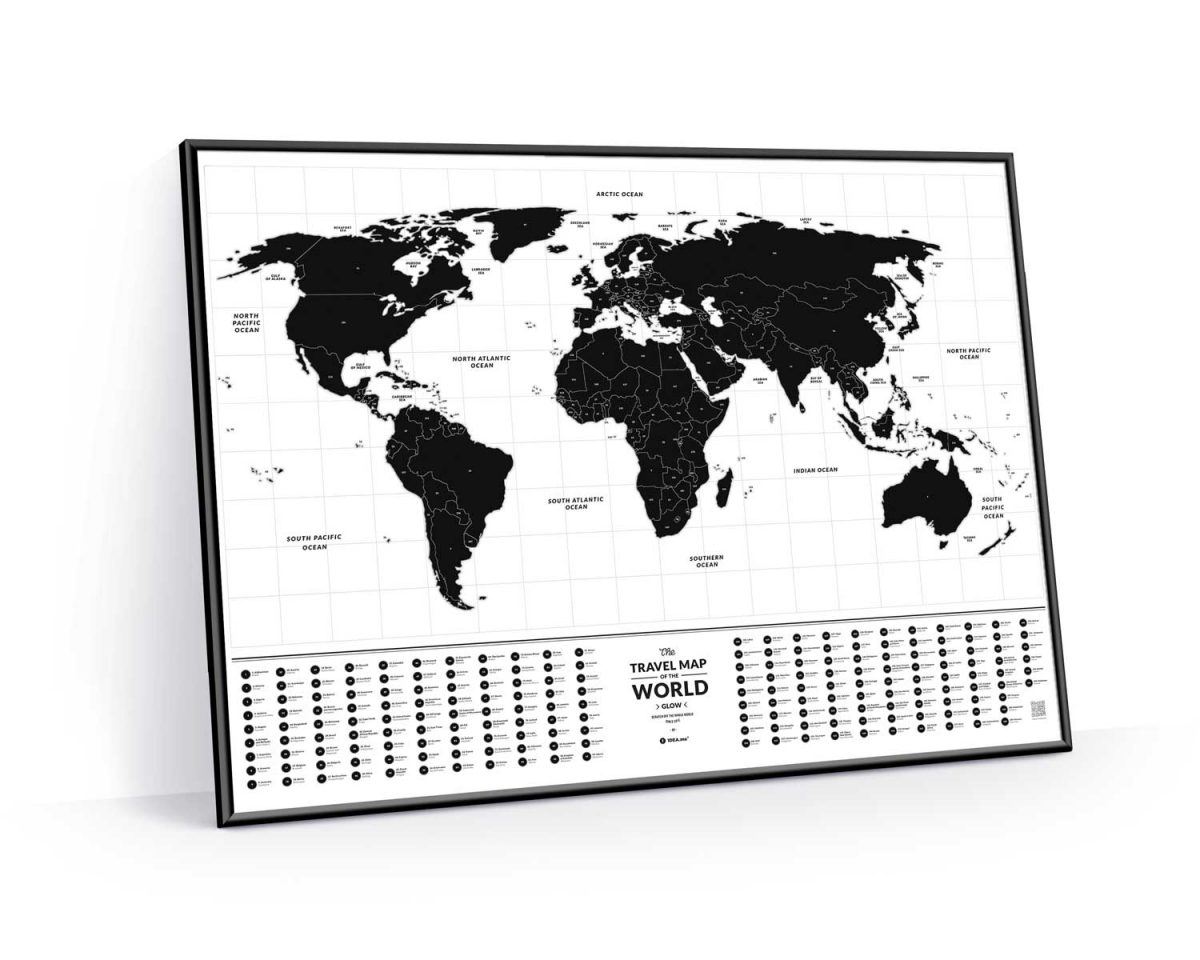 Travel map glow светящаяся карта мира 1dea.me